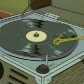 Cartoon record player, wavey vinyl
