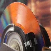 Jukebox plays multicoloured vinyl record