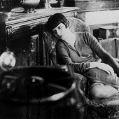 Old movie lounging by the phonograph