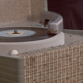Retro record player in case