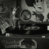 Toy story, Bullseye riding on a record player